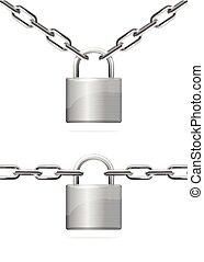 Metal Chain and Padlock. Vector