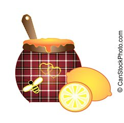 sewing lemon and honey - white background and abstract...