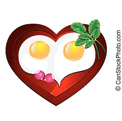 lovely heart omelette - white background and heart-shaped...