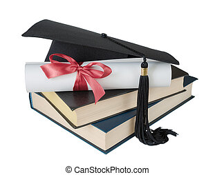 Graduate hat, books and scroll