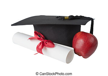 Graduate hat, red; apple and paper scroll - Black graduate...