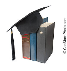 Graduate hat and books - Black graduate hat and big books,...