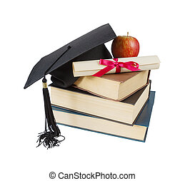 Graduate hat, books, apple and scroll - Black graduate hat,...