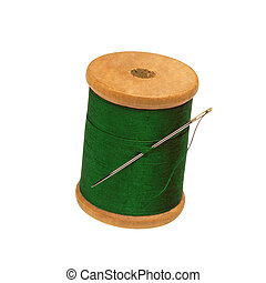 Spool of thread and needle isolated