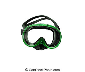green diving mask isolated on white