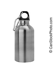 Aluminium canteen isolated on white background Path included...