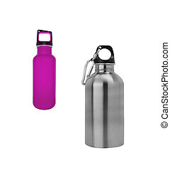 Aluminium and purple flasks isolated on white background