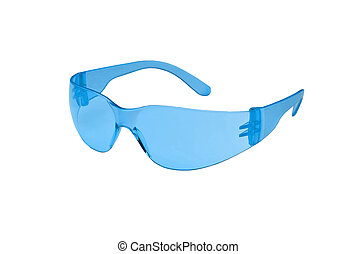 Photo of blue glasses isolated