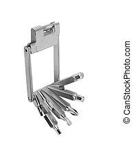 Steel pliers folding multi tool opened isolated