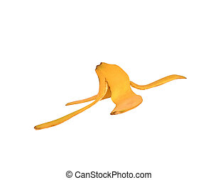 Ripe banana peel isolated on white