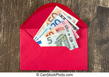 Red envelope with Euro bills. - Red envelope with Euro bills...