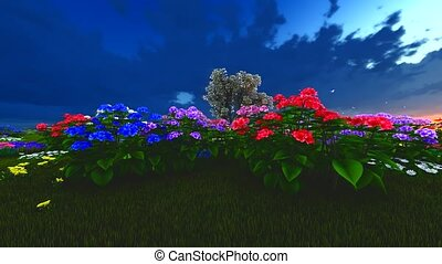 Summer wildflowers on meadow 3d rendering - Summer...