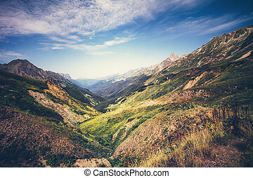 Mountains idyllic Landscape in Abkhazia with blue sky and...