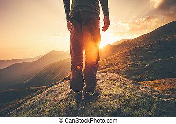 Man Traveler feet standing alone - Young Man Traveler feet...
