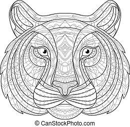 Hand drawn doodle outline tiger illustration. Decorative in...