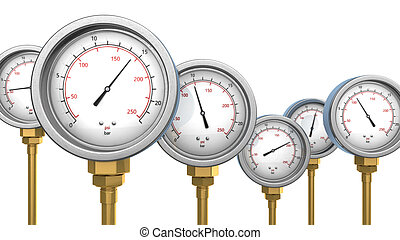 manometers - 3d illustration of manometers over white...