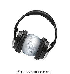 globus with headphones