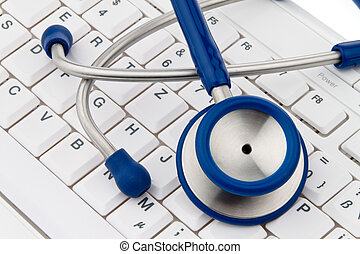 Computer keyboard and stethoscope IT for physicians - A...