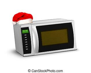Christmas microwave over white