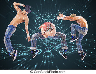 Group of dancer in dancing abstract concept