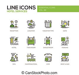 Hotel Services - flat design line icons set - Hotel services...