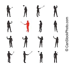 People, male, female silhouettes in shooting selfie pictures poses