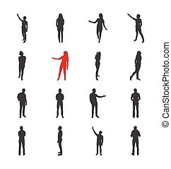 People, male, female silhouettes in different showing and browsing poses