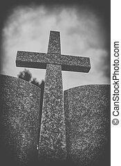 pierre, croix, contre, dramatique, nuageux, ciel, noir, et,...