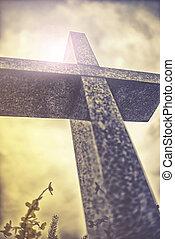 pierre, croix, contre, dramatique, nuageux, ciel, vendange,...