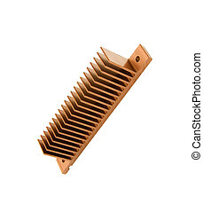 Closeup of an golden cpu cooler isolated on white