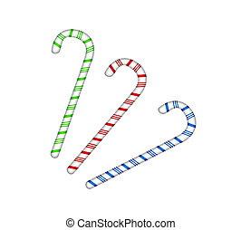 three colored candy cane isolated