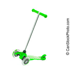 children green scooter isolated on white.