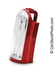 Red electrik latern on white background