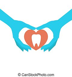 Dental health concept - Hands holding heart symbol with...