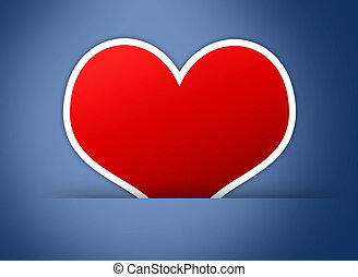 Red heart on blue back ground