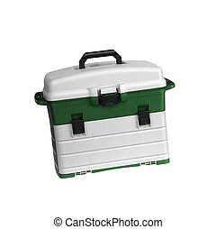 Green and white tool box isolated