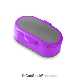 Purpule plastic case on white background