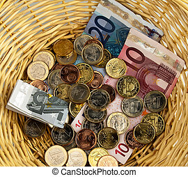 Donate basket for collection. Donation of ? - A donation...