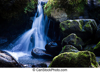Creek with running water and stone rock - A creek with...