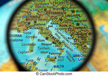 Italy looked on a globe through the lens