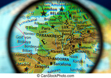 France looked on a globe through the lens