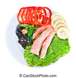 red fish in composition with vegetables