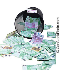 inverted basket of money