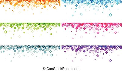Banners set with geometric pattern. - White banners set with...