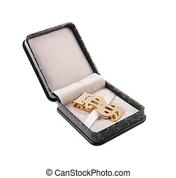 golden clip in box isolated