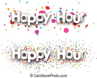 Happy hour paper banners - Happy hour paper banners with...
