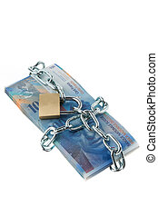 Swiss franc with lock and chain.