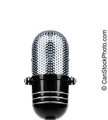 vendemmia, microfono, isolato, sopra, bianco, fondo