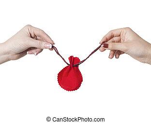 two woman hands hold Christmas gift bag