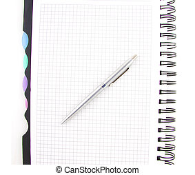 black pen and notebook isolated